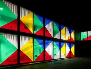 Facade de nuit oeuvre Daniel Buren Rotation (Photographie Bernard Rivière)1 OT Béziers