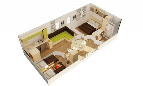 6 Plan Mobil home 2 chambres PRL Domaine Sainte Véziane